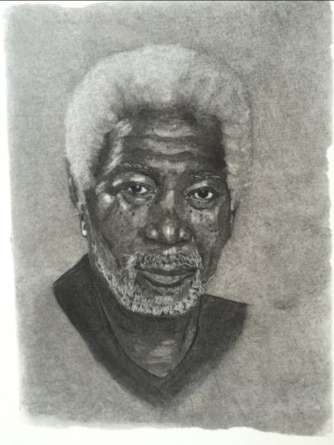 Morgan Freeman, portrait, Charcoal, Regitze Schmidt
